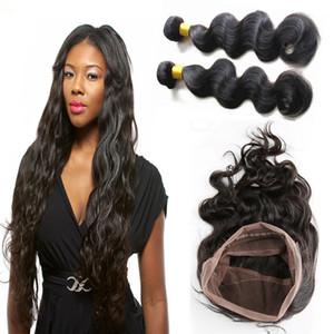 360 кружева фронтальная закрытие с 2bundles бразильский человеческих волос ткет перуанский Индийский малайзийский камбоджийский прямые волнистые вьющиеся волосы Реми