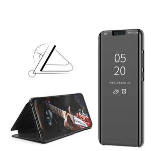 Espejo de lujo Clear View Case para Huawei Enjoy 8 8E 8P 9 plus Y9 2019 Y6 Y7 2018 Y7 Prime Phone Cover Base Vertical Base