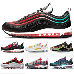 97 New Designer Hommes Chaussures course 97s OG Coussin Argent Or Noir Rouge sport Designers entraîneurs des hommes de sport Chaussures de sport airs Taille 5,5-11