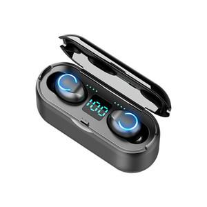 F9-8 V5. 0 наушники Bluetooth наушники для смартфона TWS беспроводные наушники поддержка сенсорного управления светодиодный дисплей 1200mAh спортивная гарнитура
