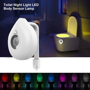 8 couleurs changement LED siège de toilette Night Light Smart Capteur de mouvement humain activé étanche WC lampe lampe à piles