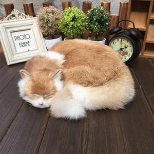 simulazione modello animale gatto addormentato decorazione della casa peluche bambola giocattolo regalo di compleanno creativo 29X31X10cm pelliccia + Plastic Mould DY80048