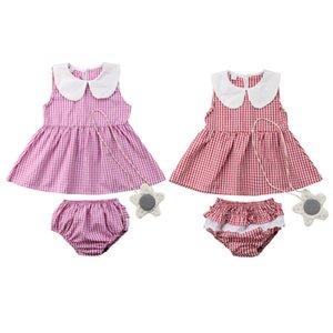 Plaid Vêtements de bébé fille enfant en bas âge sans manches rose Haut + Pantalon court nouveau-nés Vêtements pour bébé Underpants Casual Tenues Vêtements