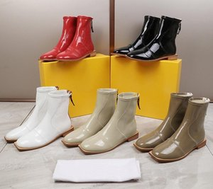 New Designer Women Flat Ankle Boots Brand Ladies booties Patent 003Genuine Leather Short Motocycle Boots Autumn Martin Boots Shoes 35-40