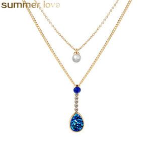 2019 Fashion Bohemian Drusy Pendant Necklace doppio strato di cristallo collana di perle regalo del partito per i gioielli delle donne
