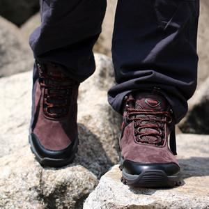 Hommes plus de velours travail Bottes 2019 Mode Outdoor Chaussures en cuir de vache Hommes Anti Slip Puncture Chaussures de sécurité Proof Boot Man
