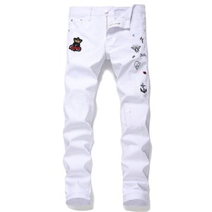 2020 Men's Casual Pants New European and American White Hole Patch Embroidery Bee Nightclub Pants Small Straight Tide Trousers