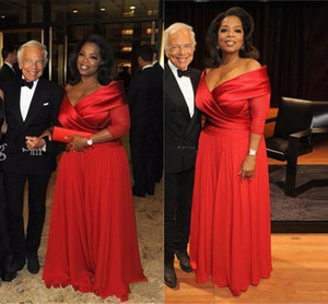 Formal Oprah Winfrey Off Shoulder Mother of The Bride Dresses with Half Sleeve Plus Size Ruched Red Chiffon Mother Formal Occasion Gown