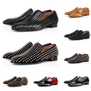 christian louboutin Yeni erkek lüks tasarımcı makosenler rahat ayakkabı iş düğün düz dipleri için üçlü siyah, kırmızı Mat rugan başak spor ayakkabısı