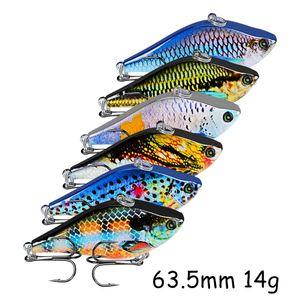 6 Color 63.5mm 14g VIB Hard Baits & Lures 6# Fishing Hooks Pesca Fishing Tackle LW_81