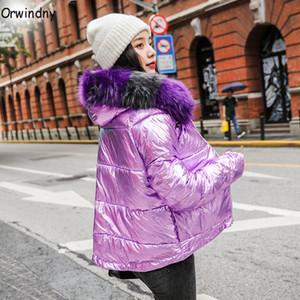 Orwindny winter jaqueta de inverno mulheres colorido faux peles parkas curtas soltas para baixo casacos de algodão jaquetas com capuz feminino outwear