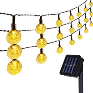 en stock 50 LEDS 100 LED Boule de cristal 5M / 12M Lampe solaire de DEL Guirlande solaire Guirlandes Jardin de Noël Décor pour l'extérieur