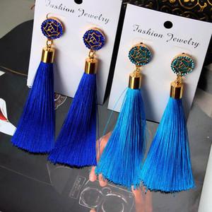 European Fashion Bohemian Tassel Crystal Long Earrings White Red Silk Fabric Drop Dangle Tassel Earrings For Women 2019 Jewelryd05c#