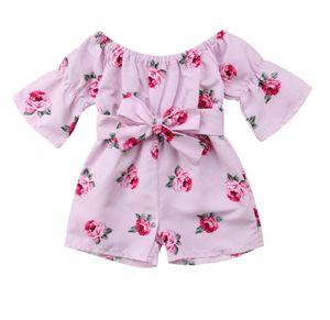 Летний новый для новорожденных Комбинезоны одежда 2019 ребёнки Outfit -Плеча Rose цветочный принт Общий Romper комбинезон Брюки Одежда BY1005
