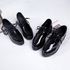 New Oxfords Women Platform Brogue Flats Shoes Patent Leather Lace Up Pointed Toe Female Footwear Shoes for Women Creepers