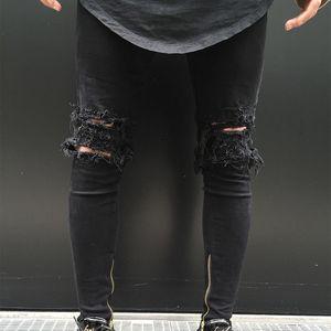 Men Ripped Holes Zip skinny nero Jeans Zip Elastic Feet Jeans Slim Fit Boy Pants Nuova moda