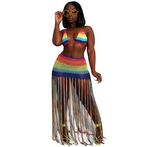 Rainbow Crochet Tassel Sexy 2 Piece Set Crop Top and Skirt Beach Party Club Birthday Outfits for Women