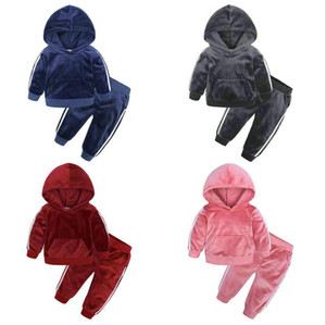 Toddler Girls Sport Suit Costume Kids Clothes Long Sleeve Tracksuit Gold Velvet Children Clothes Boys Outfits Suits