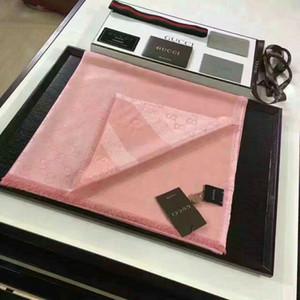 Высокое качество знаменитости дизайн письмо тиснение кашемир шерсть хлопок шарф обернуть шаль 479763 3G187 4175 большие квадратные шарфы 140 * 140см розовый