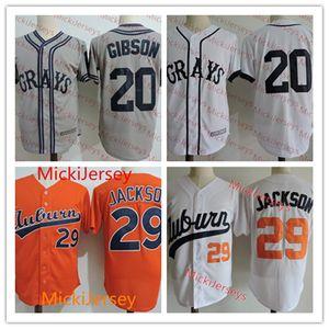 Hommes NCAA 1980s Auburn # 29 Bo Jackson Baseball Jersey # 20 Joshua Josh Gibson Veracruz Azules de Mexico NLBM Homestead Grays Jersey S-3XL
