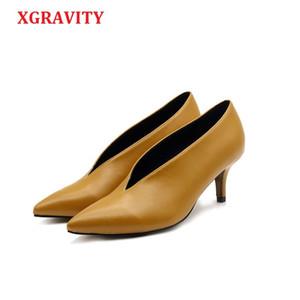 XGRAVITY 2018 Pop Star Puntiagudo Toe Girl Tacón Fino Zapatos de Mujer Diseño de V Profundo Señora Zapatos de Moda Elegantes Zapatos de Mujer Europea C264
