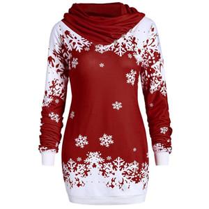 Mode Femmes Pull Hoodies Joyeux Noël flocon de neige imprimé Tops Sweat-shirt à col bénitier Prix bas Promotions Slim Sweats à capuche