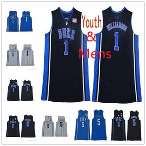 Hommes Jeunesse 1 Zion Williamson Duke Diables Bleus 4 JJ Redick 5 RJ Barrett 35 Marvin Bagley III Noir Blanc College Jersey Enfants Basketball