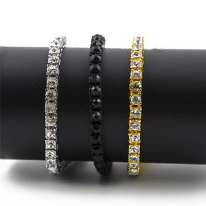 Cadenas heladas Pulseras de diamantes de imitación de 1 fila Estilo hip hop para hombres Diamante simulado claro 8 pulgadas Brazalete Bling Jewelry