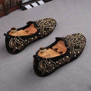 Newes designer britannique Hommes Trendy Broder appartements rivets chaussures en cuir des hommes de mariage Retrouvailles de bal formelles chaussures formelles pour homme