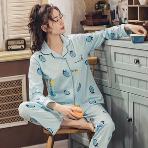 PkuDk Pajamas female summer couple long sleeve cute two-piece suit autumn cotton wear split clothes home clothes home furnishing clothing su