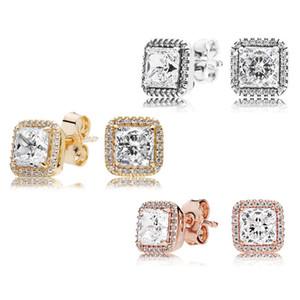 925 Sterling Silver Square Big CZ Алмазный серьги Установить Pandora ювелирных изделий золото розовое золото покрыло серьги стержня Женщины серьги-JJE012