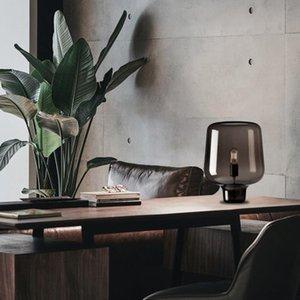 Grau Glaslampe Schlafzimmer Nachttischlampe Nordic Post-moderne Creative Art Wohnzimmer Designer Tischlampe Moderne LED-Betten