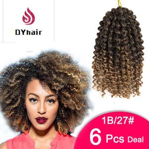 6PCS 8 인치 Marlibob 크로 셰 뜨개질 머리카락을 꼬는 곱슬 머리 곱슬 머리카락의 머리카락 확장 합성 여성을위한 합성 크로 셰 뜨개질 제리 곱슬 머리