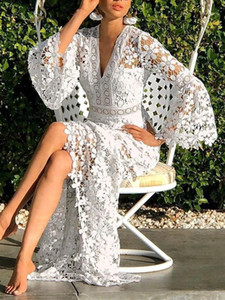Womens Dresses Summer Casual Deep V Neck Women Dress Open Back Sexy Big Swing Clothing Hollow Out Lace