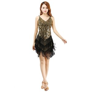Lady women sexy fringe latin dance dress for girls tassel Sequined latin dance Sleevless skirt Adult ballroom dancing dress