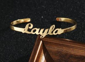 Custom Name Armband-Armbänder für Frauen-Mann Personalisierte Zitat Brief Schmuck Edelstahl Rose Gold Kinds Cuff Bracelets bff
