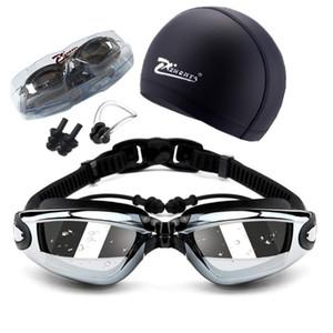 Natação adulto geogle miopia profissional 5 em 1 óculos de natação conjunto anti nevoeiro uv óculos de prescrição à prova d 'água 150-800 c19041201
