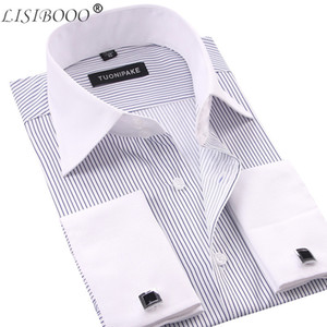 LISIBOOO Men Casual Slim Fit Mens Long Sleeve Business Dress French Cufflinks Male Striped Shirt MX200518