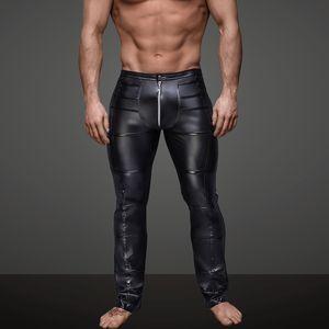 Men's Sexy Leather Pants Rave Rocker Skinny Slim Fit Long Trousers Singers Club Performance on Stage Dancer Wear Motorcycle Pants Street