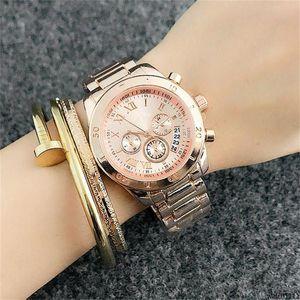watch1111 for women Fake 3-eye Roman alphabet dial style Metal steel band Calendar Quartz Watches 36mm Womens Quartz wrist Watches