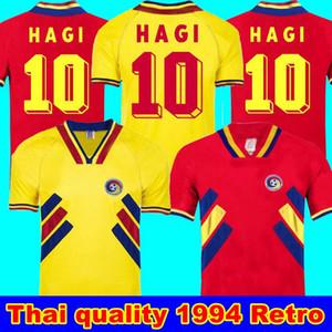 1994 루마니아 싸리 RETRO VINTAGE 홈페이지 AWAY 태국 품질 루마니아 RETRO 축구 유니폼 유니폼 셔츠 자수 로고 camiseta의 푸 웃