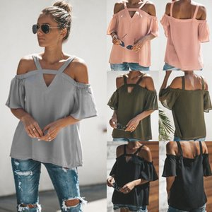 Skin-friendly Women Lady's Clothings Summer Loose Off Shoulder Tops Comfortable Short Sleeve Tops Sling V- Collar Tunic Blouse