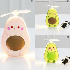 I fan di avocado Fan del fumetto portatile ricaricabile Mini USB bambini palmare con luce Specchio di favore di partito OOA8011