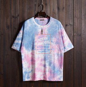 2019 Moda Béisbol Jerseys Pink Summer T-Shirt Hombres media manga T Gradient Niche suelta camiseta de manga corta