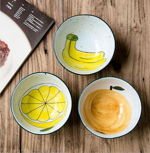 Creative hand-made ceramic face bowl hand-painted fruit series rough pottery Japanese style large bowl special tableware