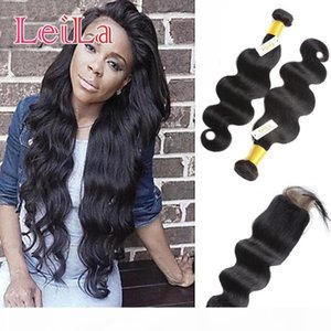 Peruvian Virgin Hair Extensions With 4X4 Lace Closure 3pieces lot Body Wave Human Hair Bundles With Closure Baby Hair Wefts With Closure