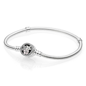 Kadınlar için Pembe Emaye Anlar Bilezik Orijinal Kutusu Pandora 925 Ayar Gümüş Şiirsel Blooms Toka Charm Bilezik Set Düğün Takı
