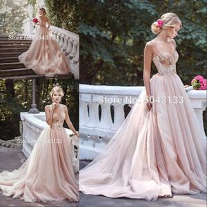 A Line Sequin Blush Pink Tulle Wedding Dresses 2020 Correas espaguetis sin mangas Vestidos de novia Court Train Corset Volver Vestidos