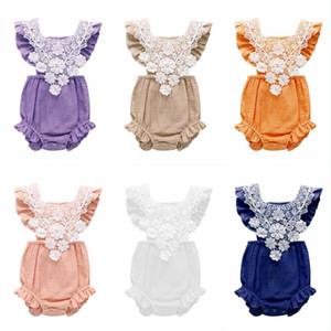 Bébé d'été Onesies Bébés filles manches en dentelle Jumpsuit tout-petits enfants Body en dentelle Vêtements Designer Summer Infant Tenues fraîches