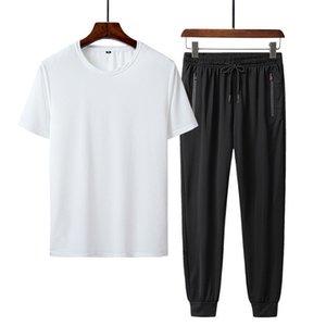 Uomo vestito allentato Sport traspirante a maniche corte t-shirt Sportswear vestito casual ghiaccio seta Mesh aria fredda di estate due pezzi